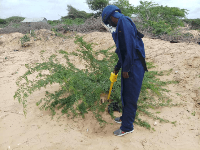 Searcher detected ERW using Schonstedt UXO Locator (Magnetic Locator) on the spot in Daynile. Photo Credit: UNMAS Somalia